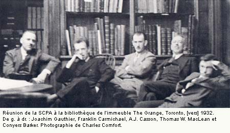 CSPWC meeting in the Library of the Grange Toronto c.1932. Left-to-right - Joachim Gauthier, Franklin Carmichael, A.J.Casson, Thomas W. MacLean, and Conyers Barker - Photograph by Charles Comfort