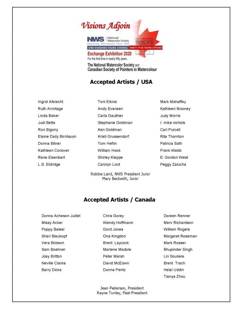 Visions Adjoin accepted Artists