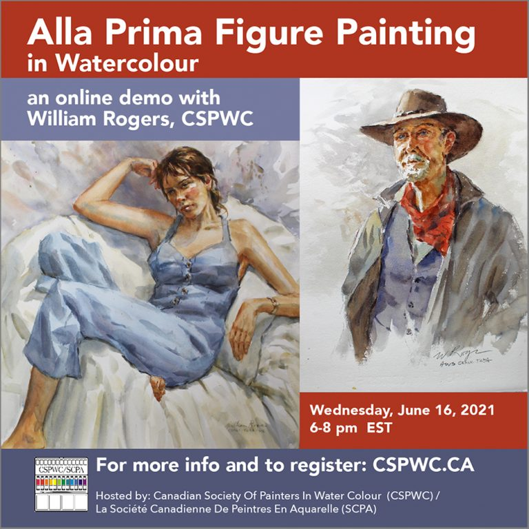 Alla Prima Figure Painting - An ONLINE watercolour demonstration with William Rogers, CSPWC