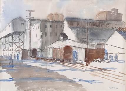 Griffith, Julius, 1956, Sheds on the Docks Montreal, 71x92