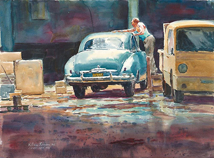 """""""Havana Garage"""" wc 21x29 inches - Winner of the AJ Casson Medal in Open Water 2009"""