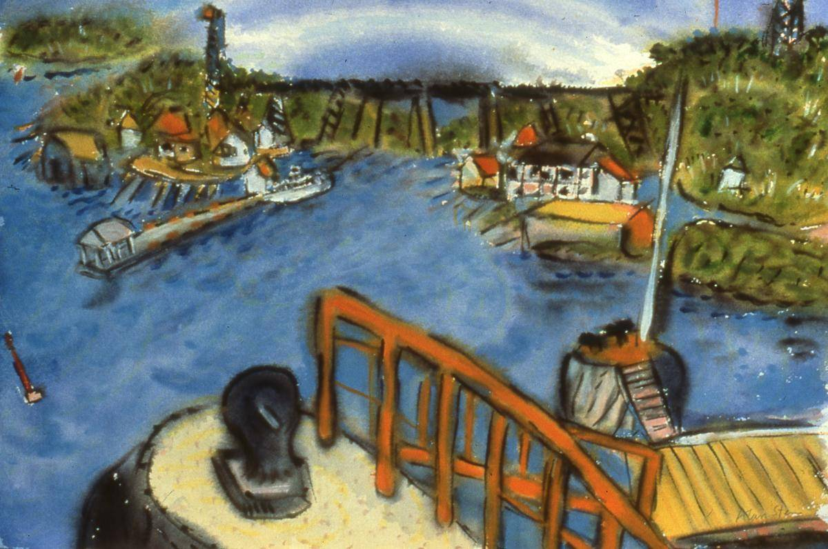 Stein, Alan, 1982, Parry Sound Harbour with Old Pier, 36x51